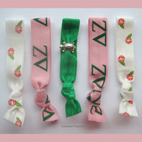 Set 5 DELTA ZETA Elastic Hair TIES, Shabby Chic Rose Print, Best Quality Products, Turtle Charm, Pink and Green hair bands, Sorority gift