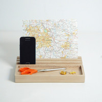 Beech wood desk organiser, Wood iPad Stand, phone stand
