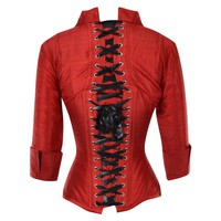 Red Dupion Corset Blouse