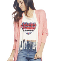 3/4 Knit Open Cardi | Wet Seal