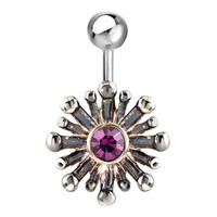 316 L Surgical Steel Purple Crystal Bursting Flower Belly Navel Rings, Body Jewelry, New Year Deals | Pugster.com