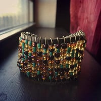 Turquoise and Yellow Mixed Beaded Leather Cuff