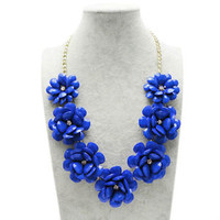 Blue Flower Gold Chain Necklace Rhinestone Acrylic Beads Bib Statement A02