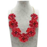 New Red Flower Gold Chain Necklace Rhinestone Acrylic Beads Bib Statement A02