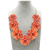 New Orange Flower Gold Chain Necklace Rhinestone Acrylic Beads Bib Statement A02