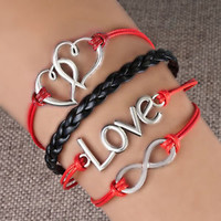 Pugster Jewelry Infinity Sideways Heart Love Color Rope Bracelet E00