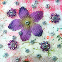 Spring card - Beaded patchwork card - Purple silk flower - Fabric art card