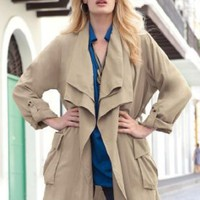 Jessica London Plus Size Draped Trench