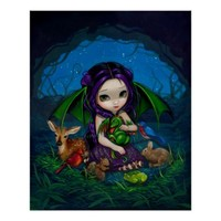 Dragonling Garden 3 fantasy fairy dragon Art Print