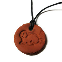 Sea Lion Necklace, Aromatherapy Jewelry, Seal Animal, Essential Oil Diffuser, Terra Cotta Clay Pendant, Sea Creature