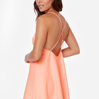 Slip of the Fun Neon Coral Dress