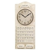 IMAX Worldwide 27547 Lonzo White Calendar Wall Clock  - Decor Universe