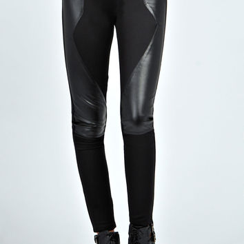Rosina Zip Detail Leather Look Insert Treggings