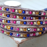 Navy Magenta Gold and Beige 5x Wrap Bracelet with Swarvoski Crystal accents and Peacock Button Clasp