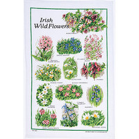 Irish Wild Flowers Linen Tea Towel