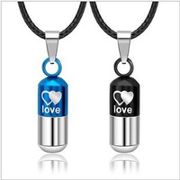 Love pills couple pendant necklace, personalized necklaces, fashion jewelry, lucky necklace, friendship and gifts.