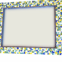 Large Mosaic Wall Mirror // Blue Yellow Green Wall Art // Mosaic Home Decor