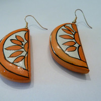 Vintage Orange Sun Sunset Earrings Enamel Painted Dangle Costume Jewelry Summer