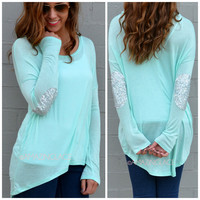 Rock Candy Mint Sequin Elbow Patch Top