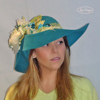 LEENA Handmade Couture Millinery Czech Double Sided Turquoise Felt Floppy Brim Hat with Silk Organza Flowers and Vintage Chartreuse Hatband
