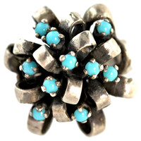 Silver & Turquoise Glass Ring
