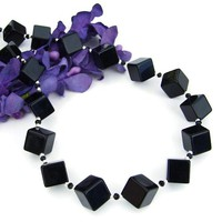 Black Onyx Handmade Necklace Diagonal Cubes Sterling Gemstone Jewelry | ShadowDogDesigns - Jewelry on ArtFire