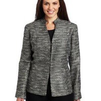 AK Anne Klein Women's Plus Size Lurex Tweed Jacket