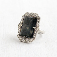 Vintage Art Deco Gray Stone & Marcasite Ring- Size 5 1930s Sterling Silver Hallmarked Uncas Shield Jewelry