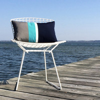 OUTDOOR Colorblock Pillow Cover (Custom Colors) - Modern Decor by JillianReneDecor - Gray, Turquoise, White & Navy - Summer Decor
