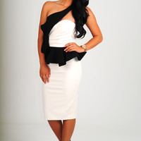 Talk Derby To Me Dress: Black/Cream