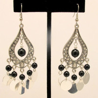 Boho Chandelier Earrings with Black Teardrops and Coins