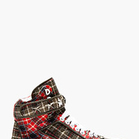 RED CALFSKIN PLAID TYSON HIGH-TOP SNEAKERS