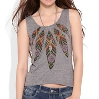 Cotton span tank with feather screen and match back aztec taping