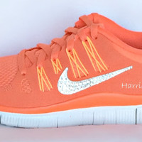 Nike Free Run 5.0 shoes in Coral/White with Swarovski crystal detail