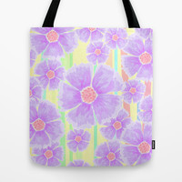 Spring Floral and Stripes Watercolor Tote Bag by Lisa Argyropoulos | Society6
