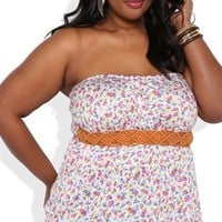 Plus Size Floral Print Bubble Hem Tube Top with Half Belt Waist