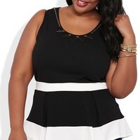Plus textured peplum tank with colorblocking and necklace