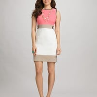 Misses | Dresses | Colorblock Tab-Waist Sheath Dress | dressbarn