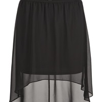belted high-low chiffon skirt