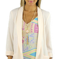 Lightweight Textured Open Tunic Blazer - Peach