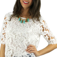 Short Sleeve Crochet Top - White