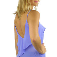Backless Ruffled Spaghetti Strap Blouse - Lavender