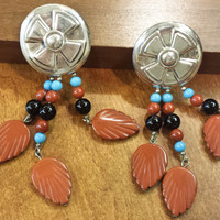 Vintage Native American Earrings, Turquoise and Orange, Native American Jewelry, Silver Earrings, Turquoise Jewelry, Tribal Jewelry
