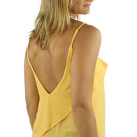 Backless Ruffled Spaghetti Strap Blouse - Marigold