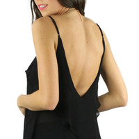 Backless Ruffled Spaghetti Strap Blouse - Black