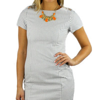 Short Sleeve Aztec Stitch Shoulders Pinstripe Dress - Blue/White