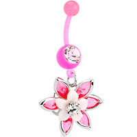 BIOPLAST Pink BLOOMING LILY Belly Ring | Body Candy Body Jewelry