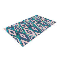 "Nika Martinez ""Tribal Ikat"" Blue Pattern Woven Area Rug"