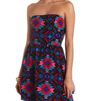 AZTEC PRINT STRAPLESS SKATER DRESS