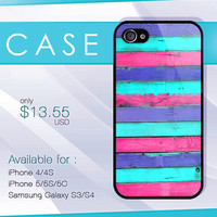 stripe pink mint on wood case, wood iphone case, iphone 4 case, iphone 5 case, iphone 5s case, iphone 5c case, samsung galaxy case